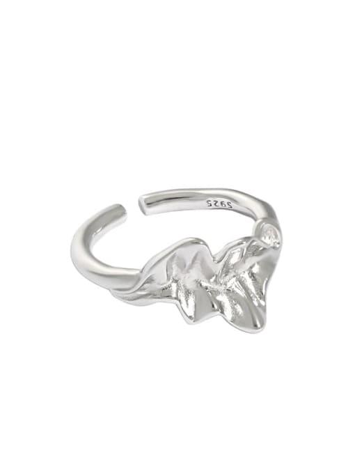 Platinum [13 adjustable] 925 Sterling Silver Irregular Vintage Band Ring